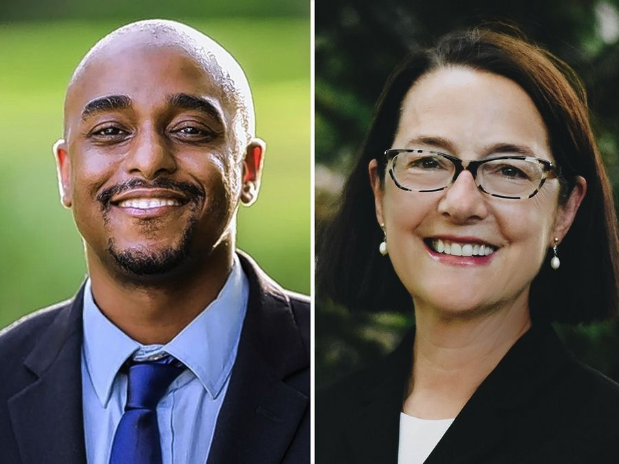 Ken Mejia-Beal, left, and Amy Grant, right, are candidates for Illinois legislature representative 42nd district in the 2020 election.