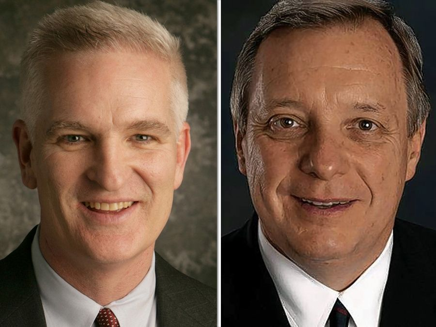 Lake County Sheriff Mark Curran, left, is challenging Democrat Dick Durbin, the No. 2 Democrat in the Senate.