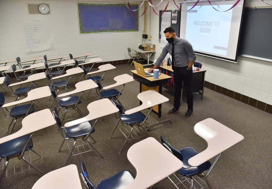 Though Conant High School English teacher Zia Nathan has been teaching all his classes remotely since the first day of school last month, Palatine-Schaumburg High School District 211 is now preparing for the possible restoration of in-person learning under a hybrid model in late October.