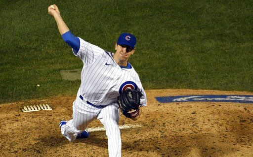 Chicago Cubs starting pitcher Kyle Hendricks delivers against the Minnesota Twins during the fifth inning of a baseball game, Friday, Sept. 18, 2020, in Chicago.