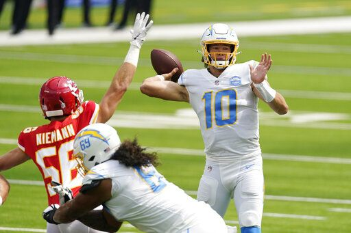 Los Angeles Chargers quarterback Justin Herbert (10) throws against the Kansas City Chiefs during the first half of an NFL football game Sunday, Sept. 20, 2020, in Inglewood, Calif.