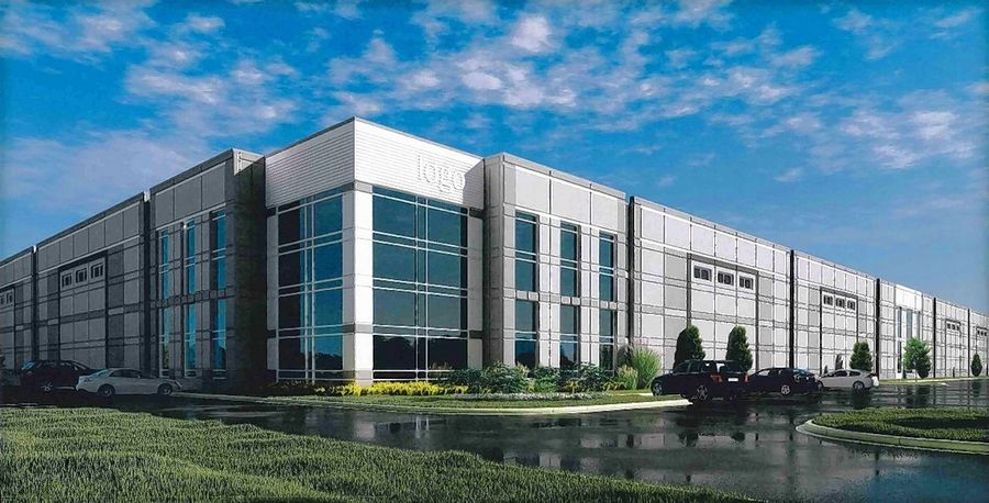 Rendering of an industrial building proposed for the Darling Farm in Vernon Hills