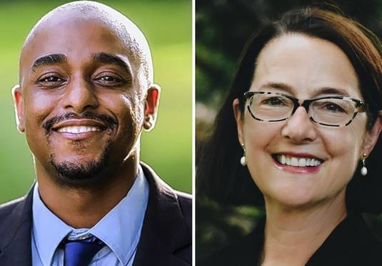 Ken Mejia-Beal, left, and Amy Grant are candidates for the Illinois House 42 seat.