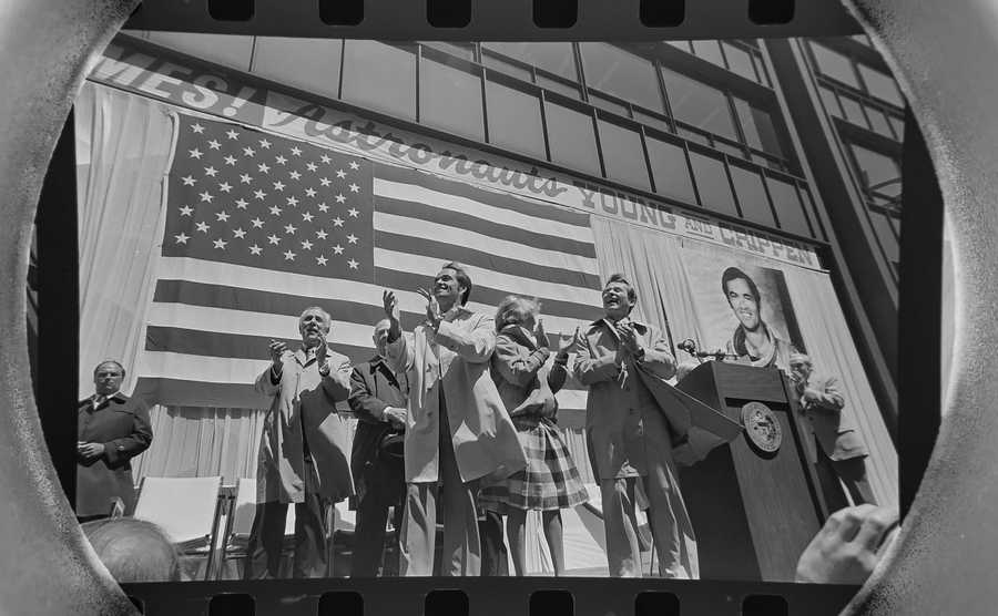 The Daily Herald Archives, Assignment # 58,438, Scott Sanders photo: Chicago Mayor Jane Byrne honors Space shuttle astronauts John W. Young and Robert Crippen during a parade to honor them in May of 1981. The two astronauts, America's first space shuttle pilots, also met with some of the City's top high school students at the Museum of Science and Industry.