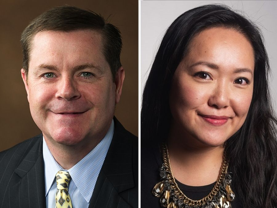 Grant Wehrli, left, and Janet Yang Rohr