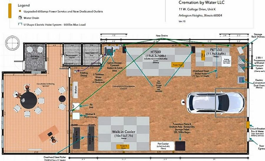 A sketch shows the layout of Cremation by Water, which plans to open its 2,300-square-foot crematorium this fall. The facility will process both human and animal cremations.