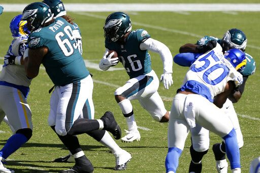 Philadelphia Eagles' Miles Sanders runs for a touchdown during the first half of an NFL football game against the Los Angeles Rams, Sunday, Sept. 20, 2020, in Philadelphia.
