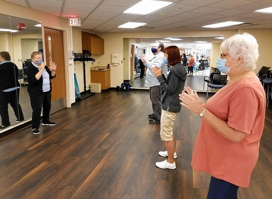 Tai Chi for Arthritis and Fall Prevention class with instructor Diana Nielsen and participants John Bolash, Connie Lokos and Sandy Dial. The class it is geared toward adults ages 55 and older who would like a gentle, low-impact program that increases balance, mobility, flexibility and lower body strength.