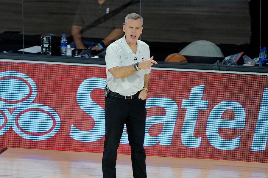 New Bulls coach Billy Donovan, here directing his Oklahoma City team in the NBA playoffs last month in Lake Buena Vista, Fla., says the Bulls can improve in the player development area.