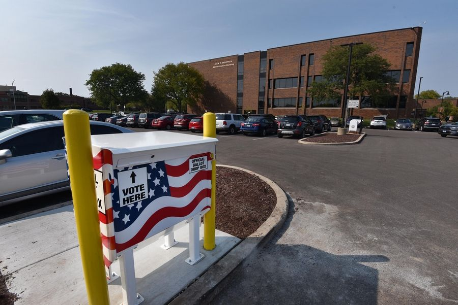 DuPage County voters can drop off their mail-in ballots at a secure box in the south parking lot of the government administration building at 421 N. County Farm Road, in Wheaton.