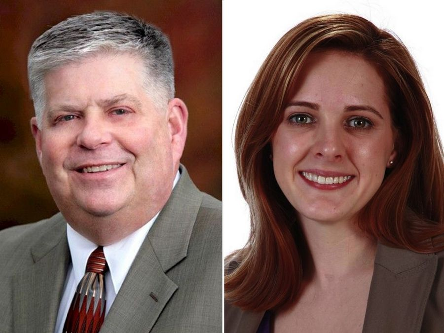 Terry Hunt, left, and Penny Wegman, right, are candidates for Kane County Auditor in the 2020 election.