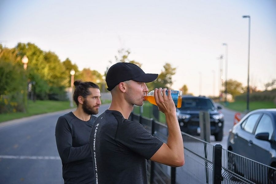 "Completing seven marathons in seven days ""is the most difficult thing I've done physically,"" says Lisle native Peter Krzywosz, right, who ran with his friend, Cheyne Adam, left, an attorney and fitness instructor."