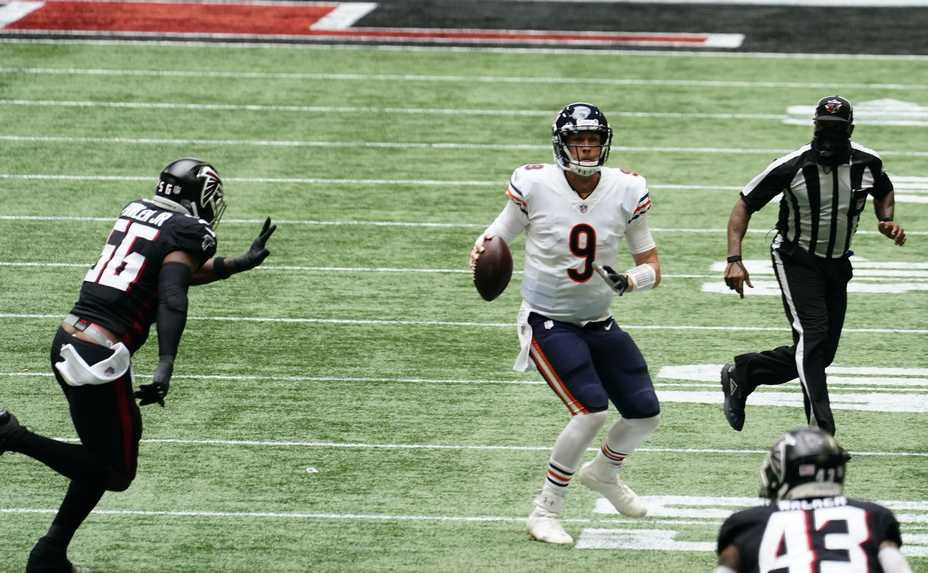 Bears quarterback Nick Foles works against the Falcons during the second half of Sunday's come-from-behind win in Atlanta. Foles, who came off the bench, threw three touchdown passes in the fourth quarter.