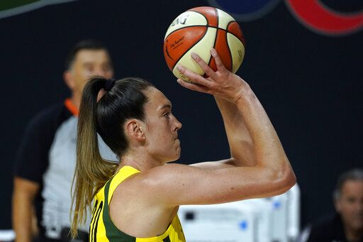 Seattle Storm forward Breanna Stewart puts up a shot against the Minnesota Lynx during the second half of Game 3 of a WNBA basketball semifinal round playoff series Sunday, Sept. 27, 2020, in Bradenton, Fla.