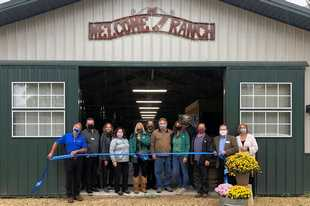 Members of the Barrington Area Chamber of Commerce recently gathered for the opening of SOUL Harbour Ranch Animal Therapy.