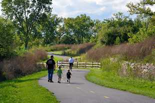 Hastings Lake Forest Preserve in Lake Villa. Forest preserve officials throughout the suburbs report increased trail usage, by both cyclists and pedestrians, during the pandemic.