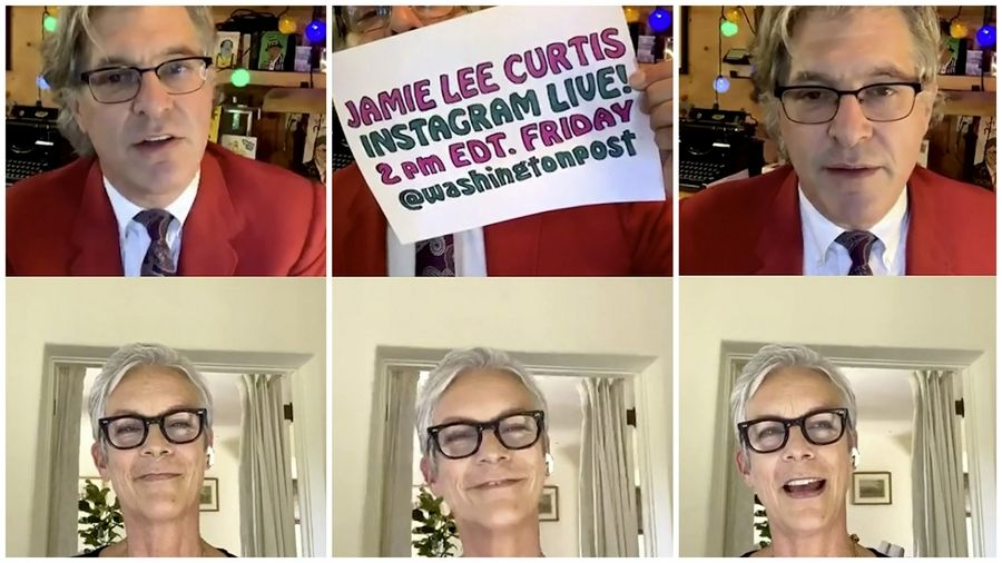 "Geoff Edgers and Jamie Lee Curtis on Sept. 4 in Edgers' twice weekly Instagram Live show ""Stuck with Geoff."""