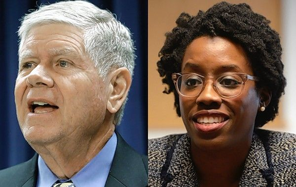 Jim Oberweis, left, and Lauren Underwood