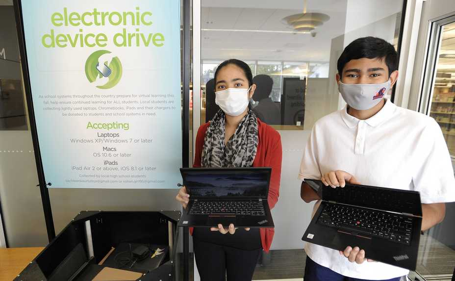 A lot of students were without laptops and other electronic devices when distance learning started. So former Quest Academy students Rohan Ganeshan, 15, left, and Sachleen Tuteja, 14, put out a call for unwanted electronics people would be willing to donate. So far, more than 21 devices have been collected, which will be donated to Chicago Public Schools and others in need.