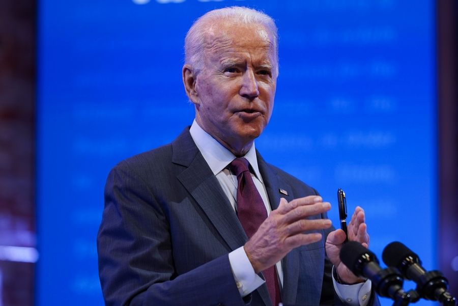 Democratic presidential candidate former Vice President Joe Biden gives a speech Sunday on the Supreme Court at The Queen Theater in Wilmington, Delaware.