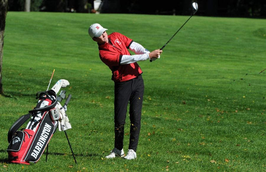 Barrington's Ian Bouchard chips up from the fairway to the second hole at the MSL boys golf tournament at Old Orchard Country Club in Mount Prospect.