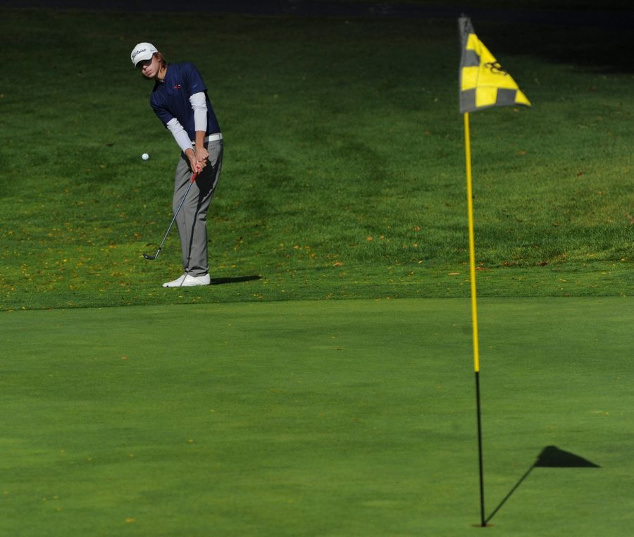 Nikko Ganas of Conant chips up to the 11th green during the MSL boys golf tournament at Old Orchard Country Club in Mount Prospect.