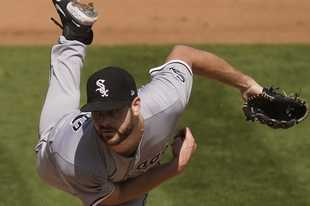 Lucas Giolito pitched the White Sox to a 4-1 win over the Oakland Athletics Tuesday in Game 1 of an American League wild-card series. Giolito had a perfect game through 6 innings.
