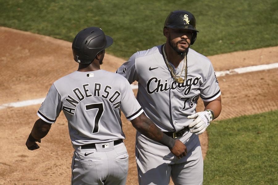 The White Sox's Jose Abreu celebrates after hitting a 2-run home run that scored Tim Anderson in Tuesday's 4-1 wild-card playoff victory in Oakland.
