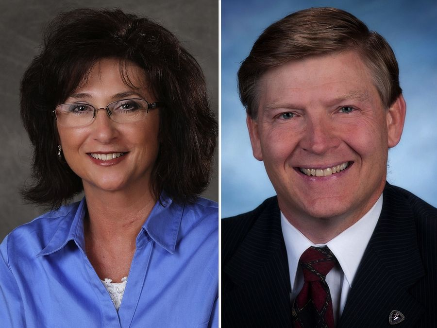 Theresa Barreiro, left, and Thomas Hartwell, right, are candidates for Kane County circuit clerk.