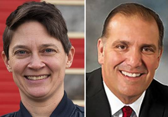 Michelle Darbro, left, and Brad Stephens, right, are candidates for Illinois House District 20 in the 2020 election.