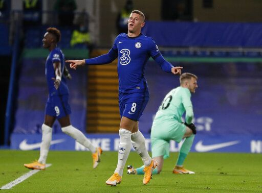 Chelsea's Ross Barkley, celebrates after scoring during the English League Cup third round soccer match between Chelsea and Barnsley at Stamford Bridge in London, Wednesday, Sept. 23, 2020.