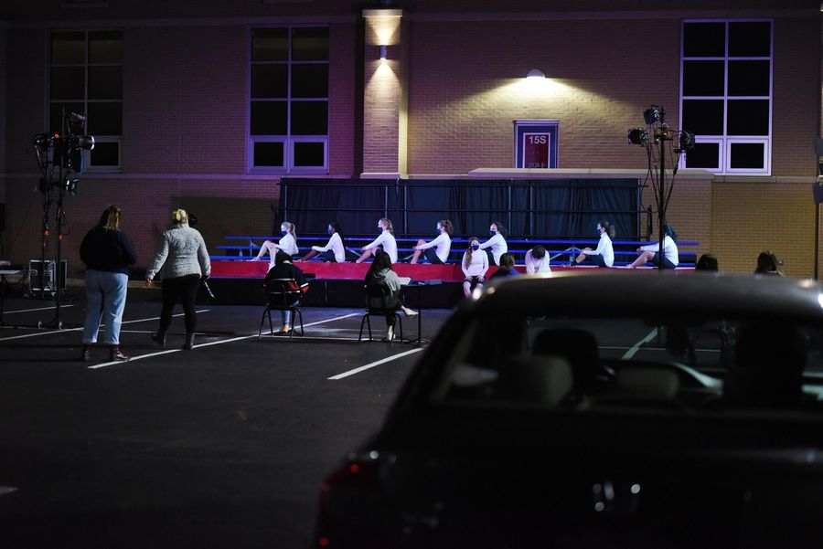 Two soccer field bleachers serve as the outdoor set for St. Viator High School's fall play, being held this weekend in the Arlington Heights school's parking lot.