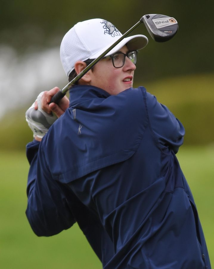 Cary-Grove's Dylan Turner tees off at the Fox Valley Conference boys golf tournament at Randall Oaks Golf Course in West Dundee Thursday.
