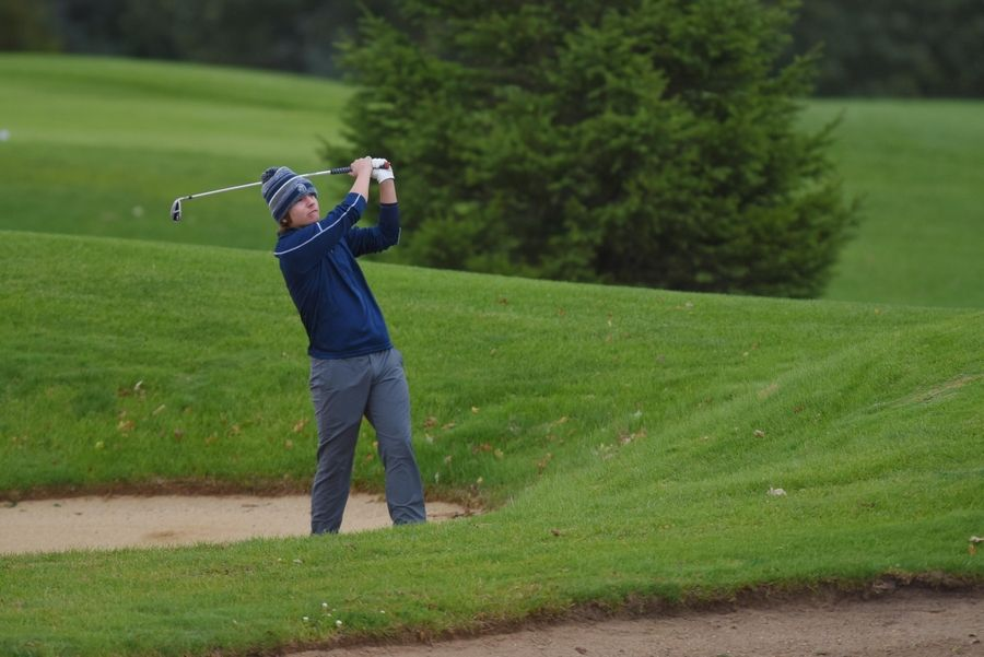 Cary-Grove's Thomas Fornelli hits from the bunker at the Fox Valley Conference boys golf tournament at Randall Oaks Golf Course in West Dundee Thursday.