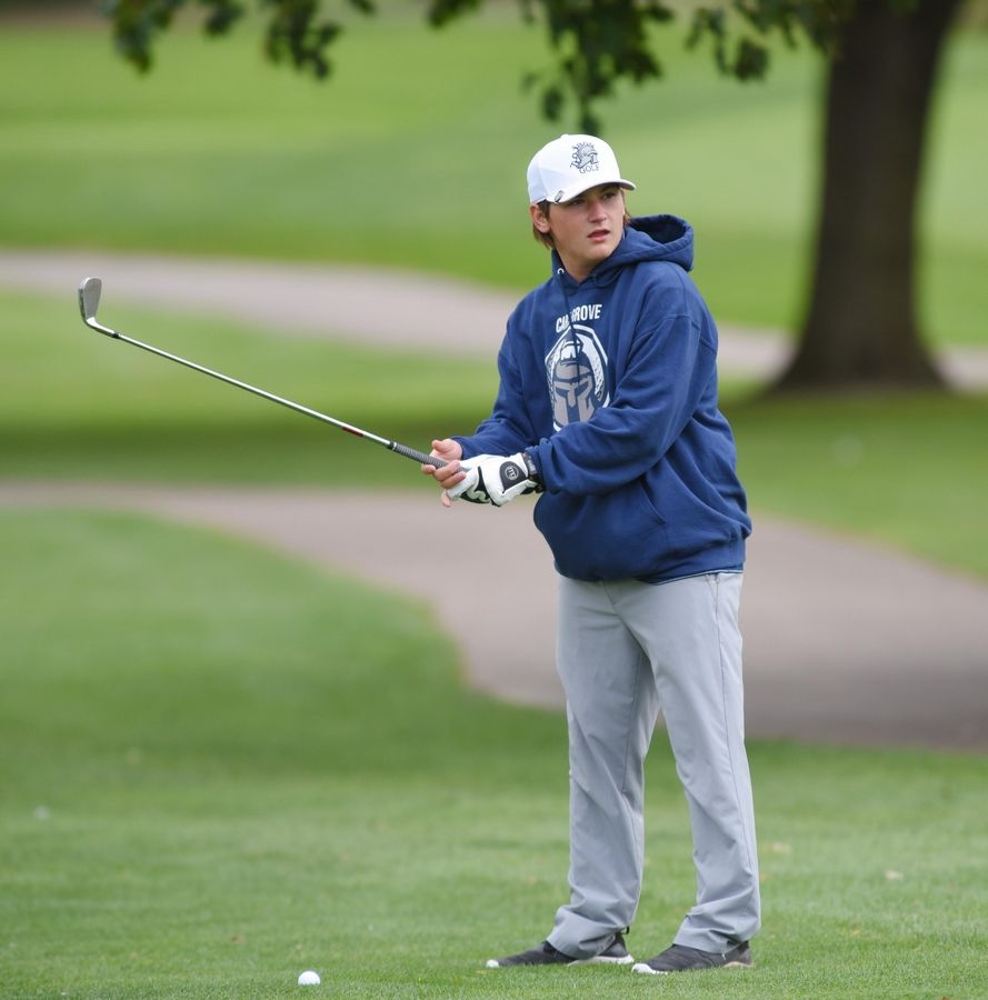 Cary-Grove's Maddux Tarasievich at the Fox Valley Conference boys golf tournament at Randall Oaks Golf Course in West Dundee Thursday.