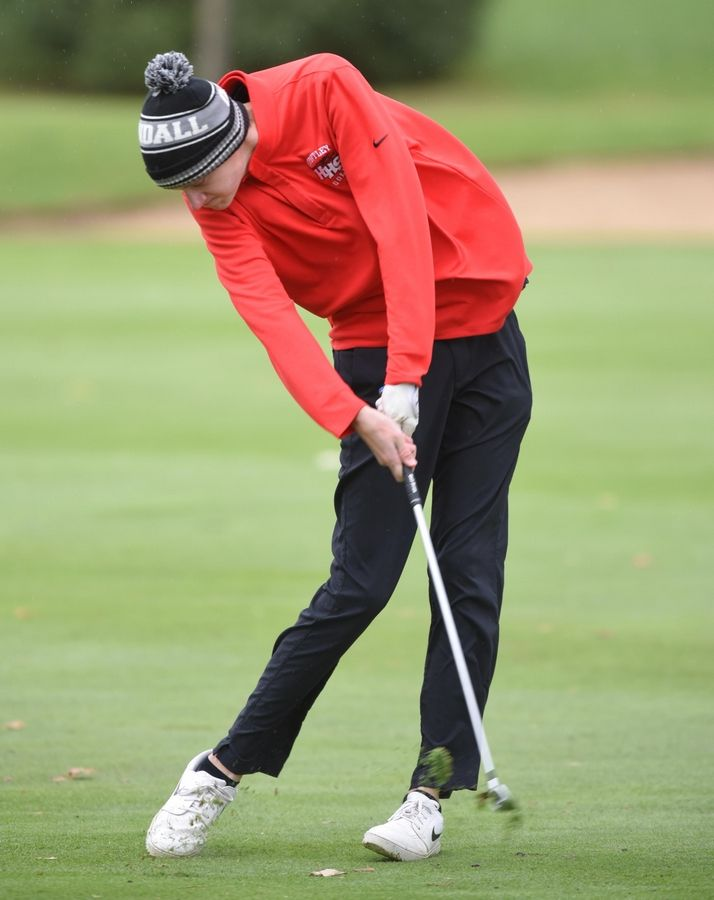 Huntley's Danny Sheedy hits from the fairway at the Fox Valley Conference boys golf tournament at Randall Oaks Golf Course in West Dundee Thursday.