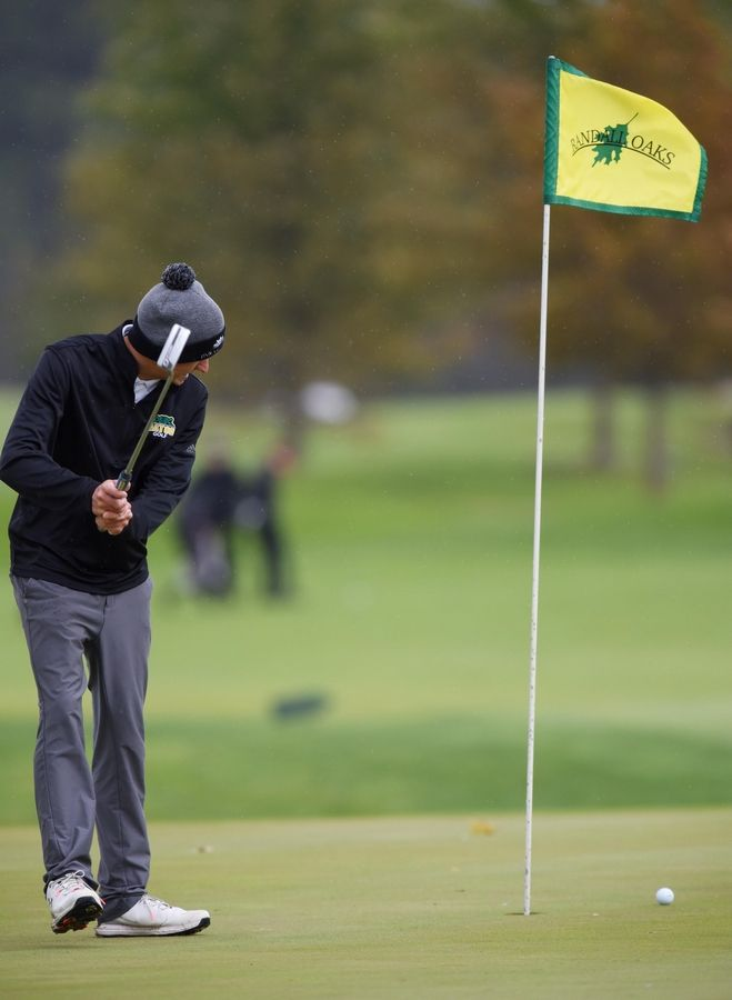Crystal Lake South's Ricky Falbo misses a putt at the Fox Valley Conference boys golf tournament at Randall Oaks Golf Course in West Dundee Thursday.