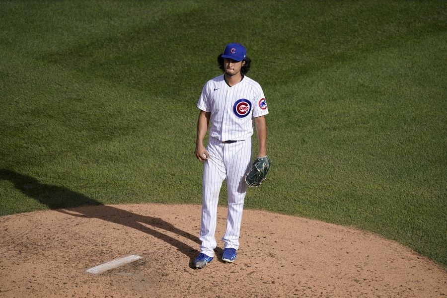 Chicago Cubs starting pitcher Yu Darvish waits on the mound before being removed during the seventh inning in Game 2 of a National League wild-card baseball series against the Miami Marlins Friday, Oct. 2, 2020, in Chicago.