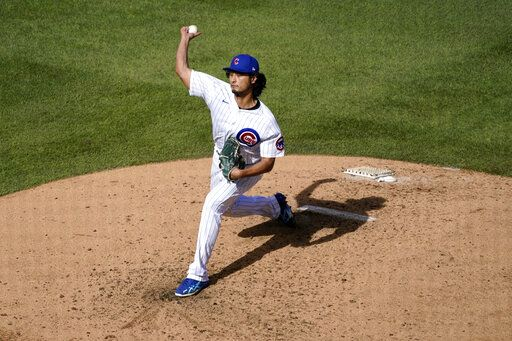 Chicago Cubs starting pitcher Yu Darvish throws during the fifth inning in Game 2 of a National League wild-card baseball series against the Miami Marlins Friday, Oct. 2, 2020, in Chicago.
