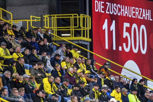 A screen displays the spectators number during the German Bundesliga soccer match between Borussia Dortmund and SC Freiburg in Dortmund, Germany, Saturday, Oct. 3, 2020.