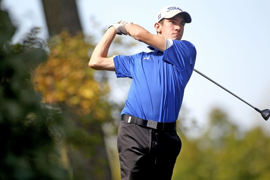 Cal McKittrick of Geneva tees off during the Class 3A South Elgin Regional at Bartlett Hills Golf Club on Oct. 6.