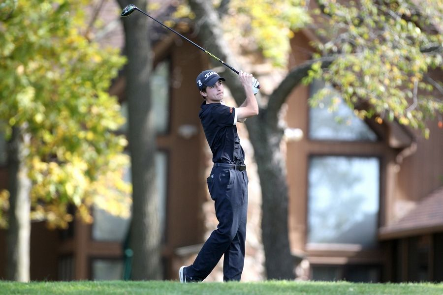 St. Charles East's Chris Petri tees off during the Class 3A South Elgin Regional at Bartlett Hills Golf Club on Oct. 6.