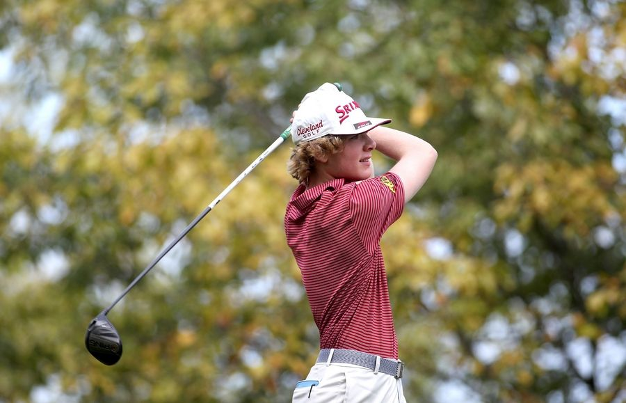 Batavia's Gavin Newkirk tees off during the Class 3A South Elgin Regional at Bartlett Hills Golf Club on Oct. 6.