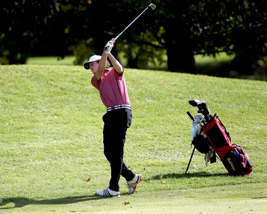 Batavia's Myles Prodoehl hits from the fairway during the Class 3A South Elgin Regional at Bartlett Hills Golf Club on Oct. 6.
