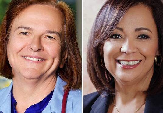 Barbara Bellar, left, and Iris Martinez are candidates for Cook County clerk of the circuit court.
