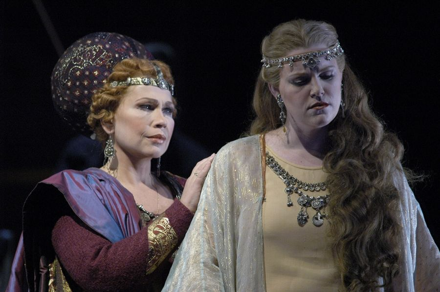 "Soprano Erin Wall portrayed Freia, right, opposite Russian mezzo-soprano Larissa Diadkova as Fricka in a 2004 Lyric Opera of Chicago revival of Wagner's ""Das Rheingold."" Wall, 44, died Thursday after a long illness."