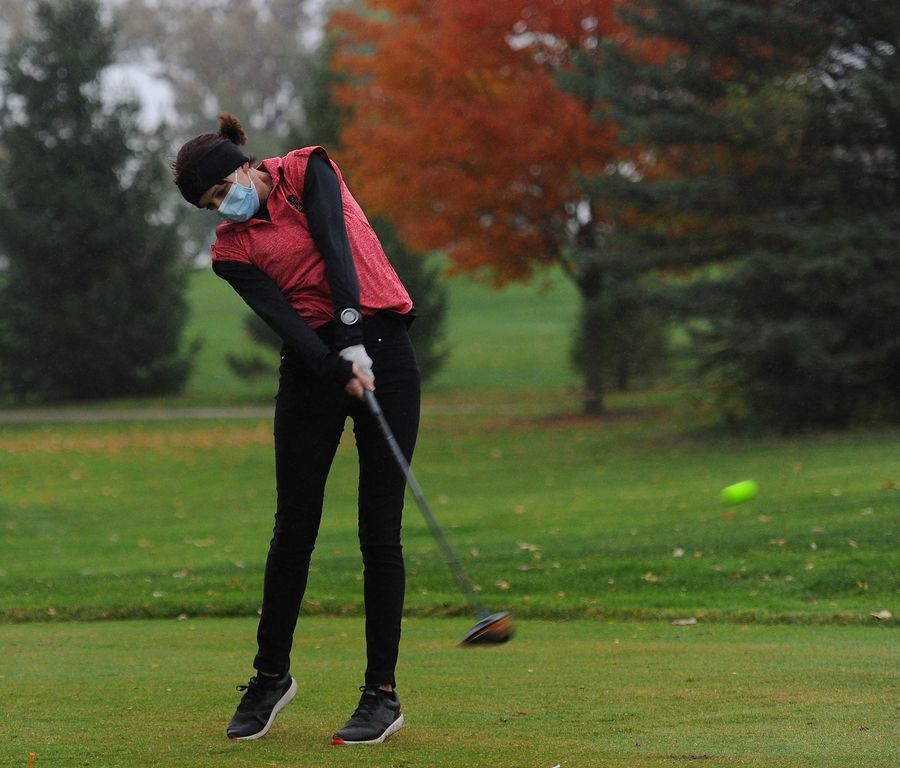 Huntley's Lorelei Onmens tees off on the first hole at girls sectional golf held at Randall Oaks Golf Club in West Dundee on Monday.