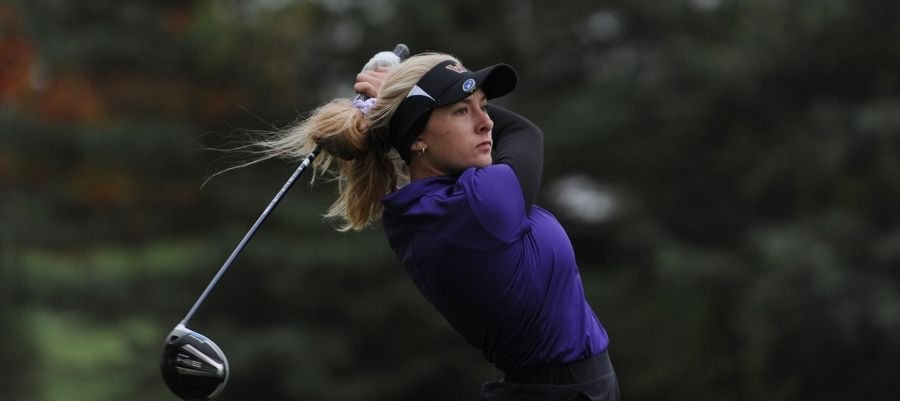 Wauconda's Liv Romer tees off on the first hole at girls sectional golf held at Randall Oaks Golf Club in West Dundee on Monday.