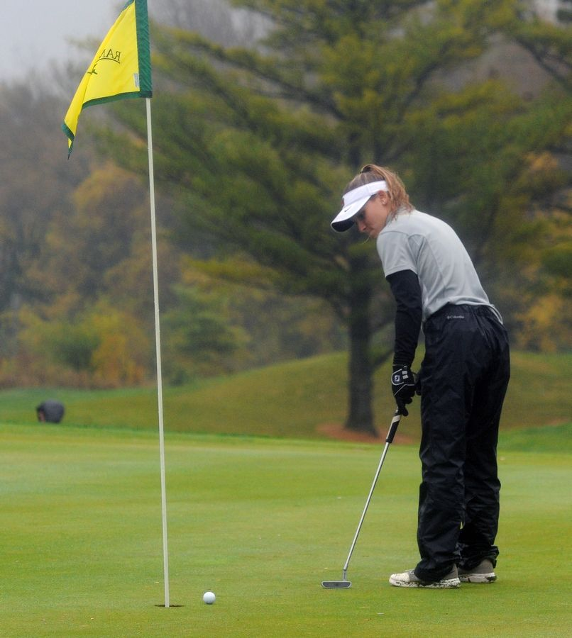 Mundelein's Kellie Shanahan putt on the fourteenth hole falls short at girls sectional golf held at Randall Oaks Golf Club in West Dundee on Monday.