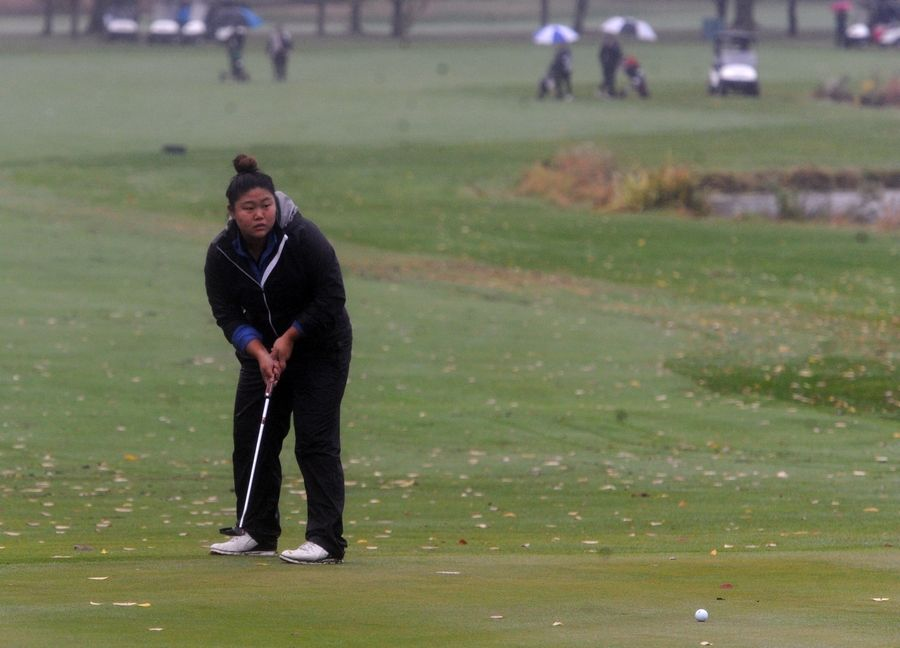 Emily Koh of Burlington Central putts from the edge of the rough on the fourteenth hole at girls sectional golf held at Randall Oaks Golf Club in West Dundee on Monday.